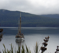 Boat moared on Lake Te Anau