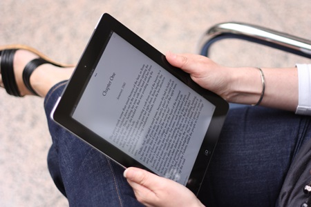 A person reading from an eBook