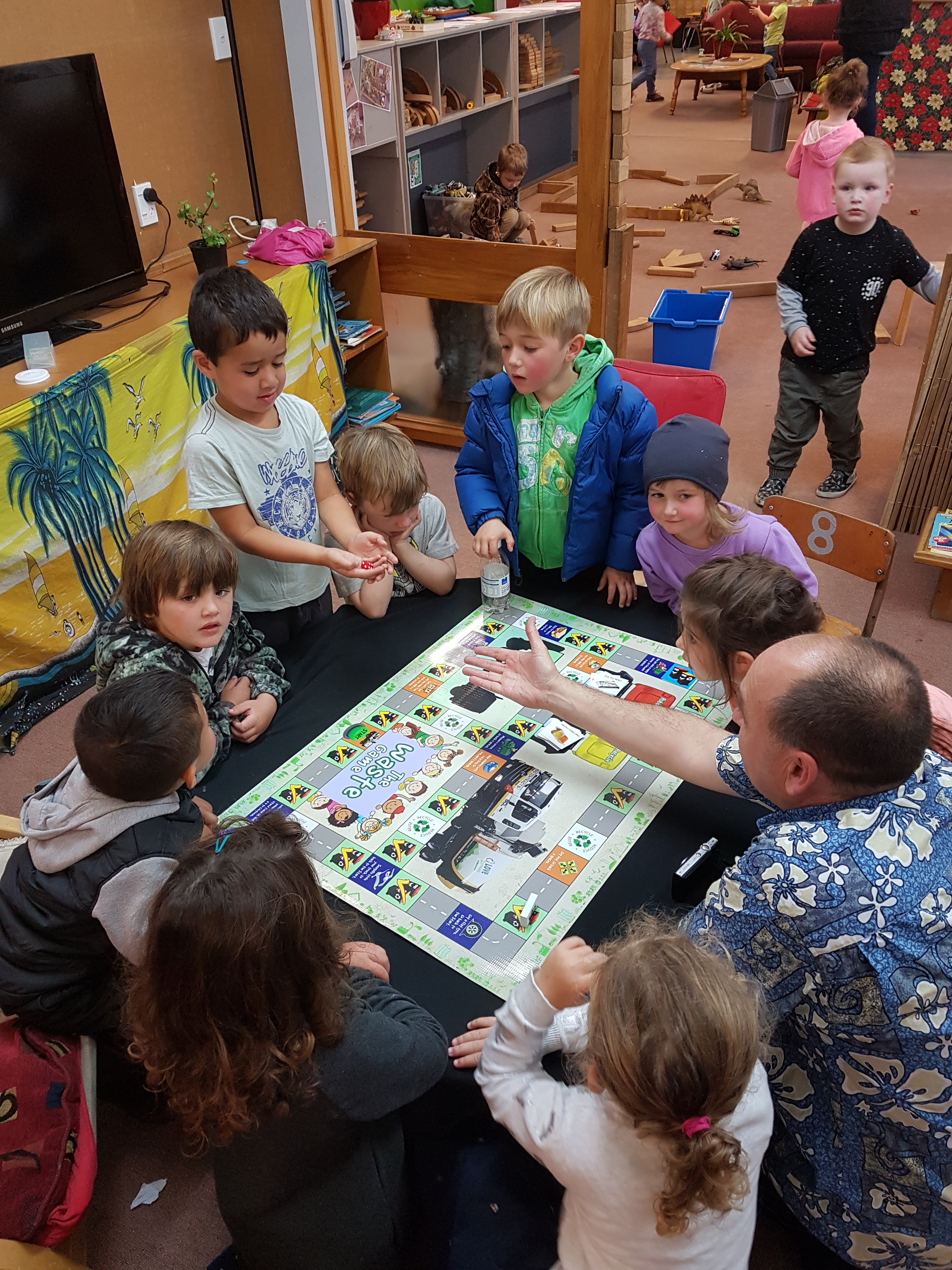 Students at Surrey Park Early Learning Centre play the Waste Game with creator Mike Richards