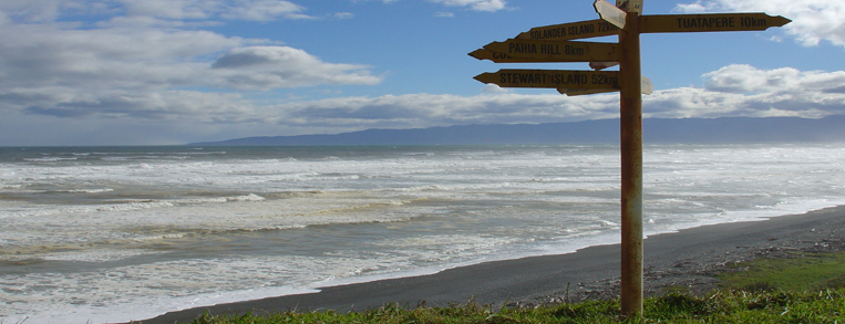 McCrackens Rest area signpost on Tuatapere coast
