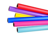 Coloured rolls of gift wrapping paper