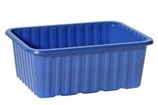 a blue plastic container or tray