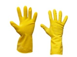 A pair of yellow rubber gloves