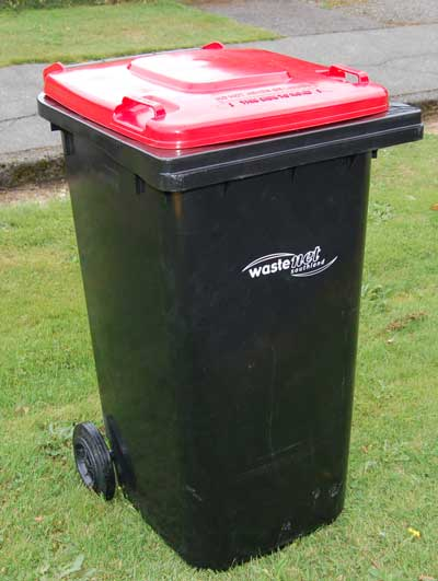 The new red rubbish bin replaces the orange rubbish bag the new bin will be delivered to - Rd rubbish bin ...